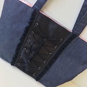 Victoria's Secret Denim Corset Tote Medium 17x10.5
